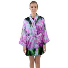 Hot Pink And White Peppermint Twist Garden Phlox Long Sleeve Kimono Robe