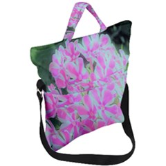 Hot Pink And White Peppermint Twist Garden Phlox Fold Over Handle Tote Bag by myrubiogarden