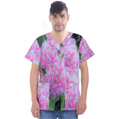 Hot Pink And White Peppermint Twist Garden Phlox Men s V Neck Scrub Top