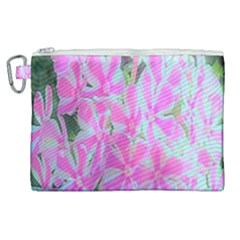 Hot Pink And White Peppermint Twist Garden Phlox Canvas Cosmetic Bag (xl)