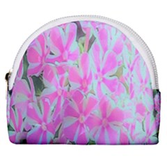 Hot Pink And White Peppermint Twist Garden Phlox Horseshoe Style Canvas Pouch