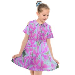 Hot Pink And White Peppermint Twist Garden Phlox Kids  Short Sleeve Shirt Dress