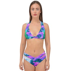 Pink, Green, Blue And White Garden Phlox Flowers Double Strap Halter Bikini Set