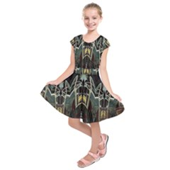 Modern Industrial Abstract Rust Pattern Kids  Short Sleeve Dress by CrypticFragmentsDesign