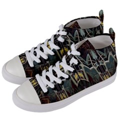 Modern Industrial Abstract Rust Pattern Women s Mid Top Canvas Sneakers by CrypticFragmentsDesign