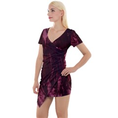 Wordsworth Crushed Velvet Short Sleeve Asymmetric Mini Dress by DeneWestUK
