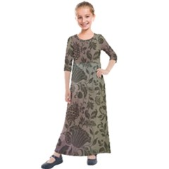 Wordsworth Metallic Flowers Kids  Quarter Sleeve Maxi Dress by DeneWestUK