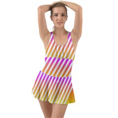 Abstract Lines Mockup Oblique Ruffle Top Dress Swimsuit