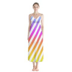 Abstract Lines Mockup Oblique Button Up Chiffon Maxi Dress