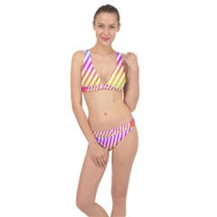 Abstract Lines Mockup Oblique Classic Banded Bikini Set