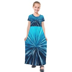 Background Structure Lines Kids  Short Sleeve Maxi Dress