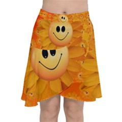 Sun Sunflower Smile Summer Chiffon Wrap Front Skirt