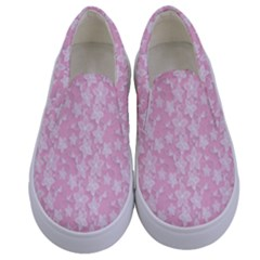 Pink Floral Background Kids  Canvas Slip Ons