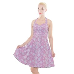 Pink Floral Background Halter Party Swing Dress