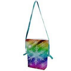 Christmas Snowflake Background Folding Shoulder Bag