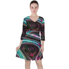 Streak Colorful Iridescent Color Ruffle Dress by Bejoart