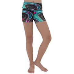 Streak Colorful Iridescent Color Kids  Lightweight Velour Yoga Shorts