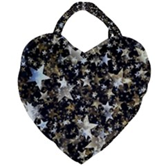 Background Star Christmas Advent Giant Heart Shaped Tote by Bejoart
