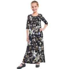 Background Star Christmas Advent Kids  Quarter Sleeve Maxi Dress by Bejoart