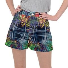 Color Background Structure Lines Stretch Ripstop Shorts