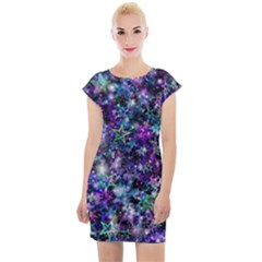 Background Christmas Star Advent Cap Sleeve Bodycon Dress by Bejoart