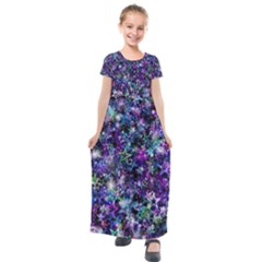 Background Christmas Star Advent Kids  Short Sleeve Maxi Dress