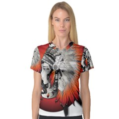 Art Girl Woman Photoshop Graphics V-neck Sport Mesh Tee