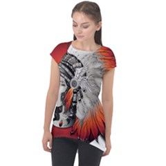 Art Girl Woman Photoshop Graphics Cap Sleeve High Low Top