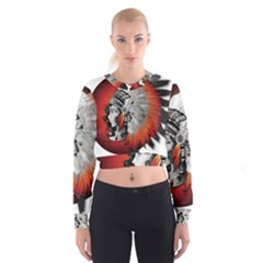 Art Girl Woman Photoshop Graphics Cropped Sweatshirt