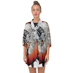 Art Girl Woman Photoshop Graphics Half Sleeve Chiffon Kimono