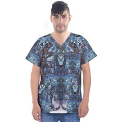 Angel Wings Blue  Men s V Neck Scrub Top by CrypticFragmentsDesign