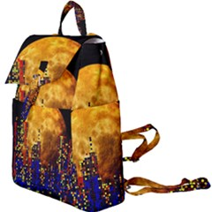 Skyline Frankfurt Abstract Moon Buckle Everyday Backpack by Bejoart