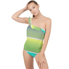 Pattern Banner Background Dot Set Frilly One Shoulder Swimsuit