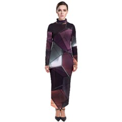 Crystals Background Design Luxury Turtleneck Maxi Dress by Bejoart