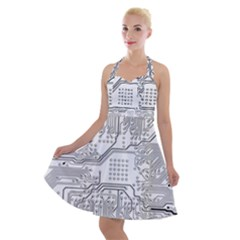 Circuit Board Pcb Computer Halter Party Swing Dress