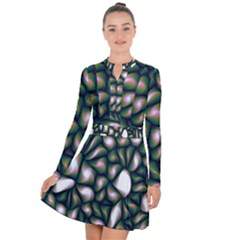 Fuzzy Abstract Art Urban Fragments Long Sleeve Panel Dress