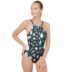 Fuzzy Abstract Art Urban Fragments High Neck One Piece Swimsuit