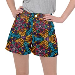 Grubby Colors Kaleidoscope Pattern Stretch Ripstop Shorts