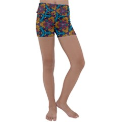 Grubby Colors Kaleidoscope Pattern Kids  Lightweight Velour Yoga Shorts