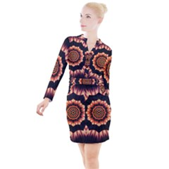 Digital Art  Artwork Abstract Button Long Sleeve Dress