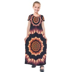 Digital Art  Artwork Abstract Kids  Short Sleeve Maxi Dress