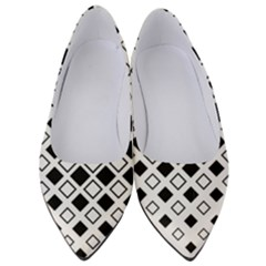 Square Diagonal Pattern Monochrome Women s Low Heels