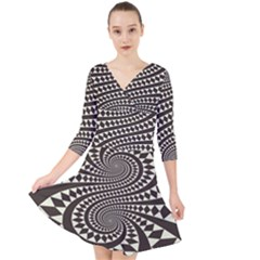 Retro Form Shape Abstract Quarter Sleeve Front Wrap Dress
