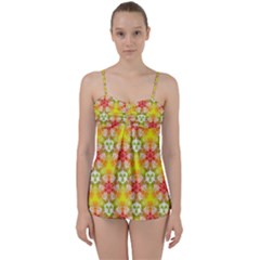 Abstract Pattern Texture Babydoll Tankini Set
