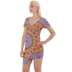 Geometric Flower Oriental Ornament Short Sleeve Asymmetric Mini Dress