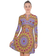 Geometric Flower Oriental Ornament Long Sleeve Panel Dress