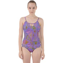 Triangle Digital Polygonal Poly Cut Out Top Tankini Set