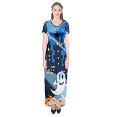 Halloween Ghosts Haunted House Short Sleeve Maxi Dress