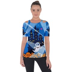 Halloween Ghosts Haunted House Shoulder Cut Out Short Sleeve Top by Wegoenart