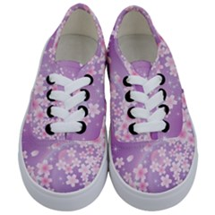 Japanese Sakura Background Kids  Classic Low Top Sneakers